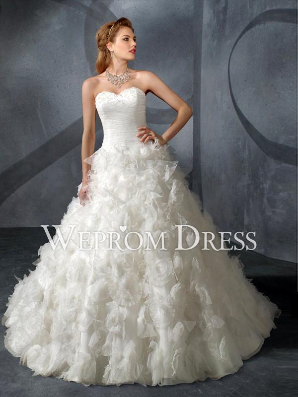 Girls Button Ruffles Train Sweetheart Strapless White A-Line A-Line Wedding Dresses -wepromdress ...