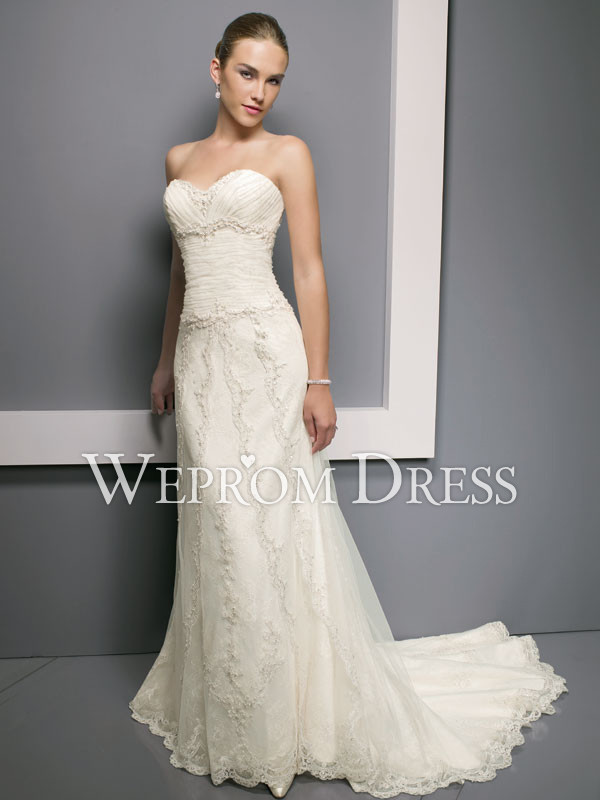 Impressive Button Apple Chapel Train Empire A-Line A-Line Wedding Dresses -wepromdresses.com