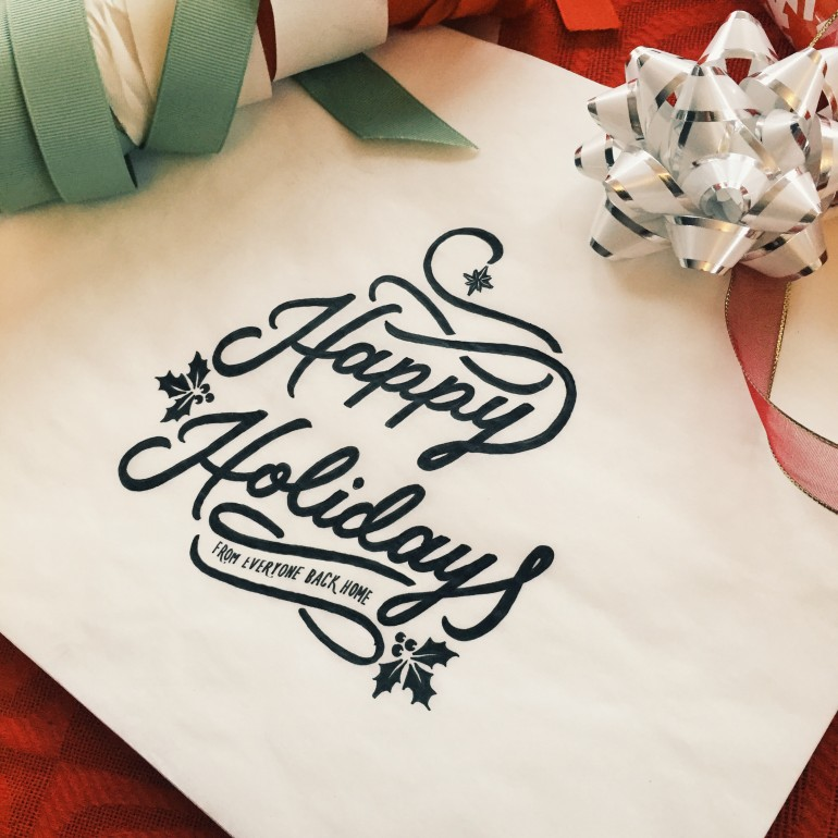 Happy Holidays hand drawn typography sketch by Jenna Bresnahan