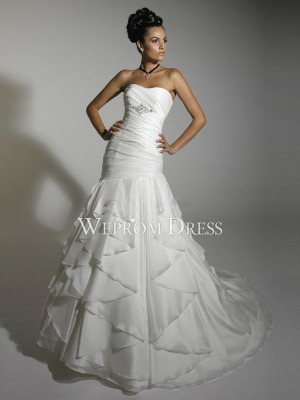 Lace-up Pear-Shaped White  A-Line Gallery A-Line Wedding Dresses -wepromdresses.com