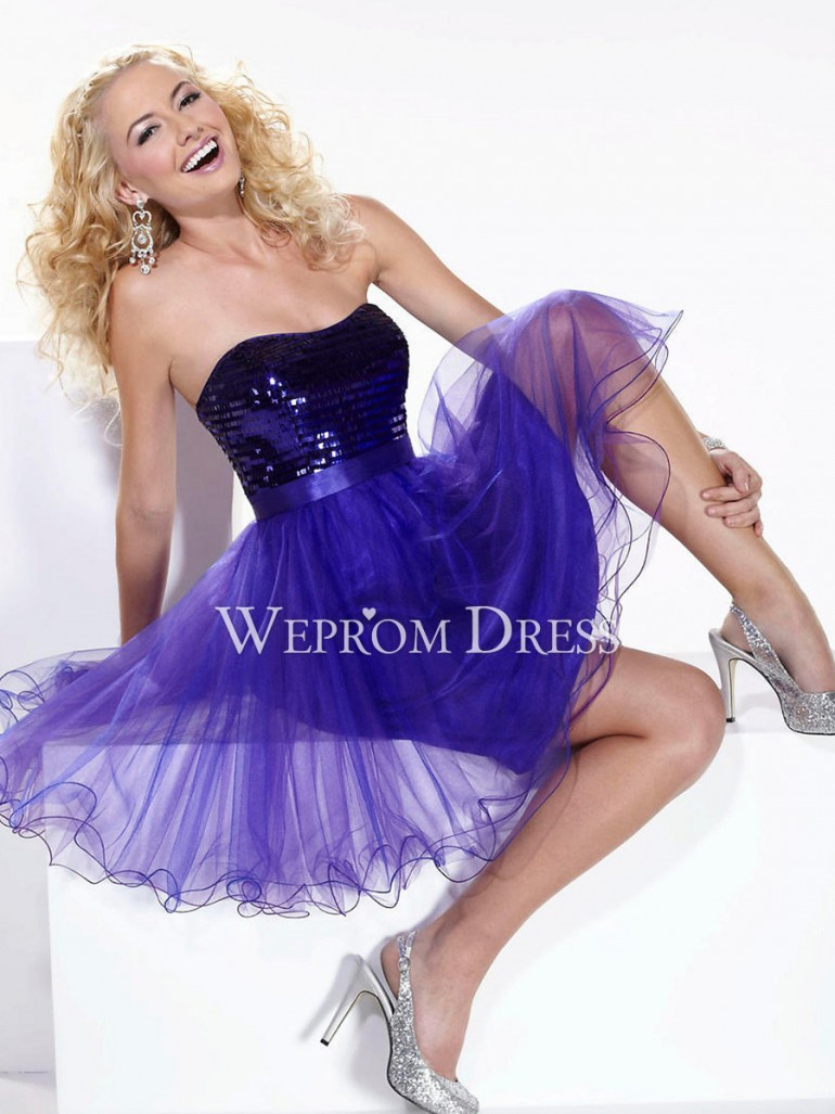 Princess Rectangle Apple Lace-up Short/Mini Strapless Purple Sequined short cocktail dresses -we ...