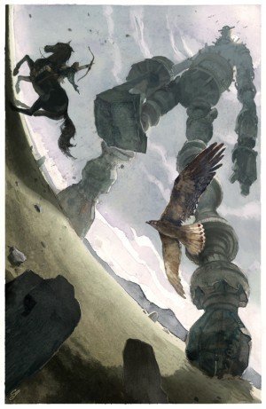"""An illustration inspired by the iconic video game, """"Shadow of the Colossus."""""""