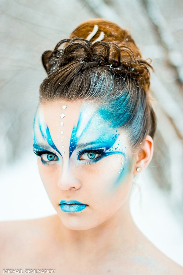 Snow Queen inspired aqua and white fantasy make-up with pretty crystal accents by Michel Z_Art.  ...