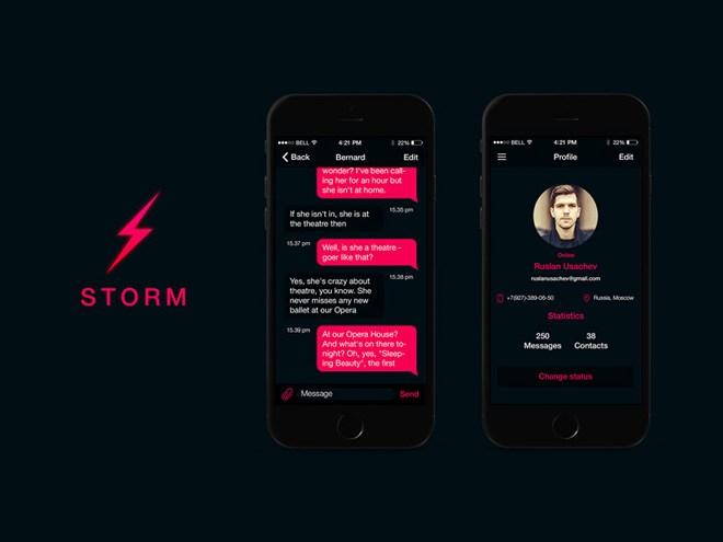 Storm : Mobile Messenger App UI PSD