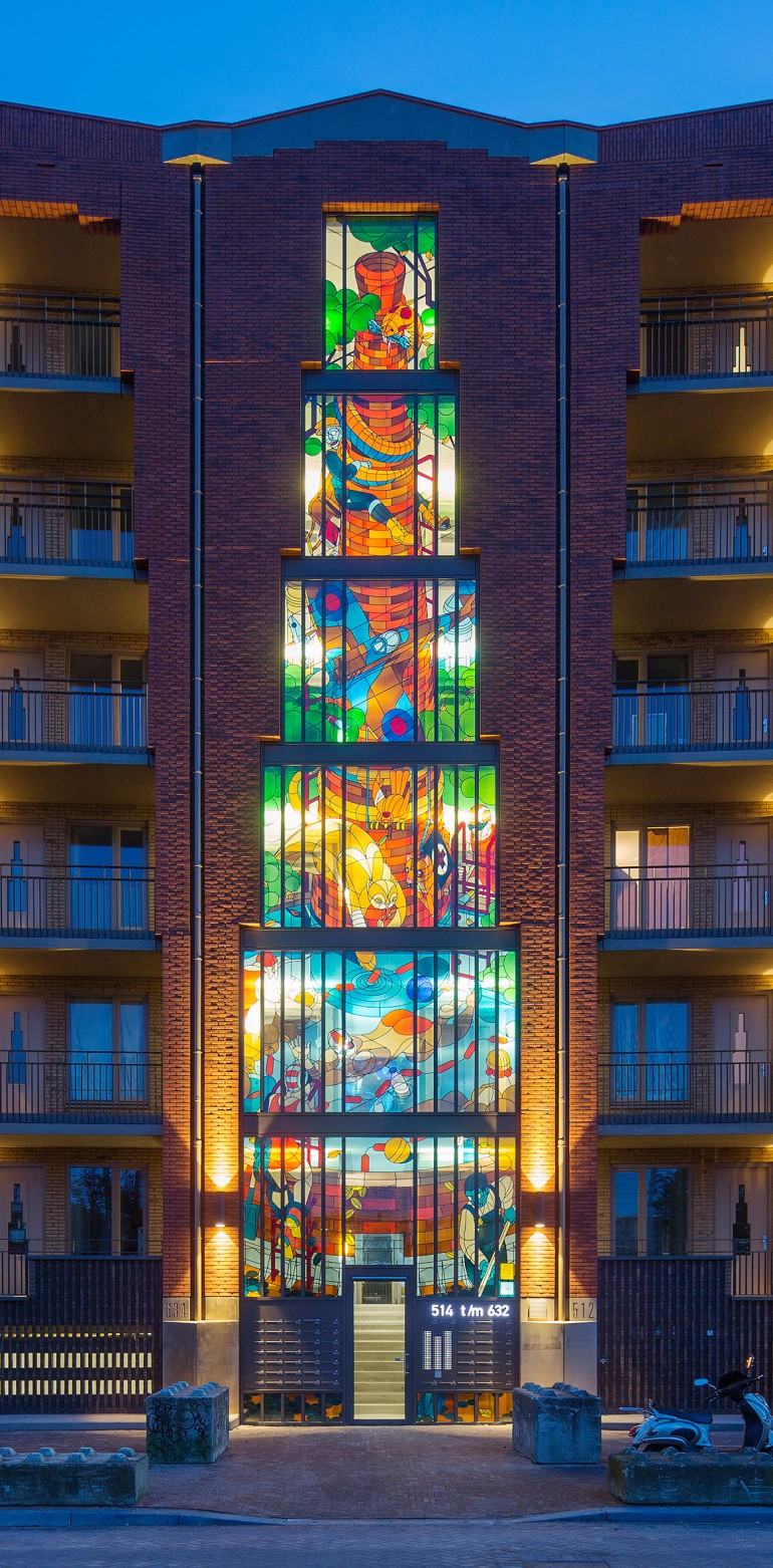 Two Stained Glass Facades Decorate a New Residential Project in Amsterdam