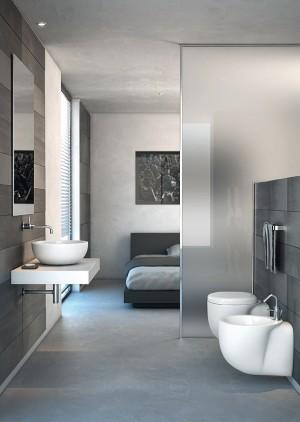 amazing bed-/bathroom