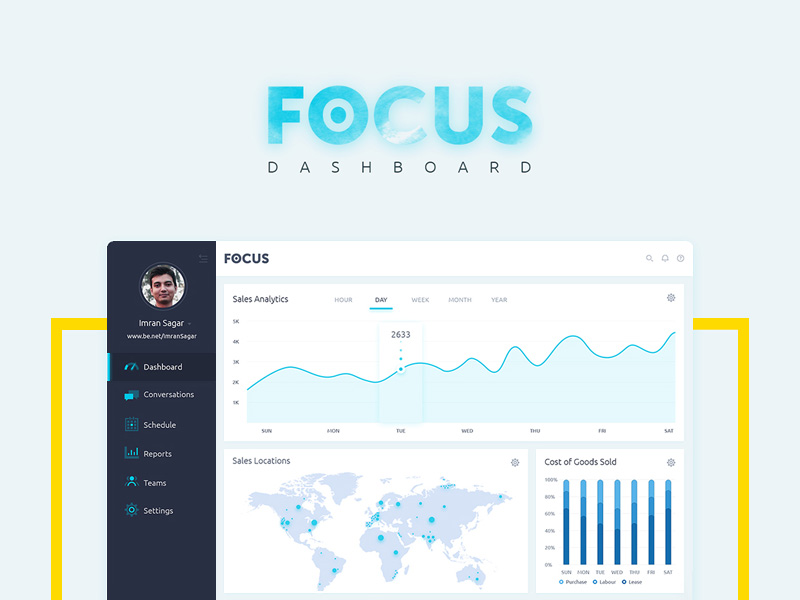 Focus – a standard dashboard with a clean and flat ui.
