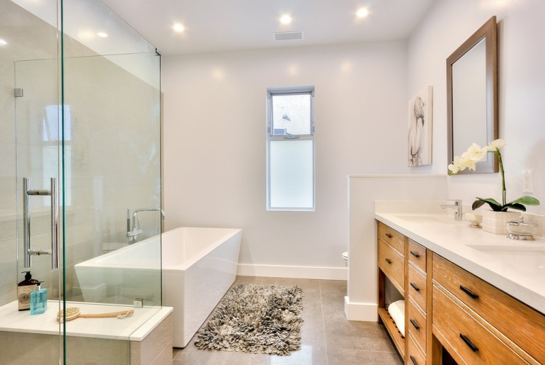 Contemporary Master Bathroom with Freestanding & Double sink in Eagle Rock, CA