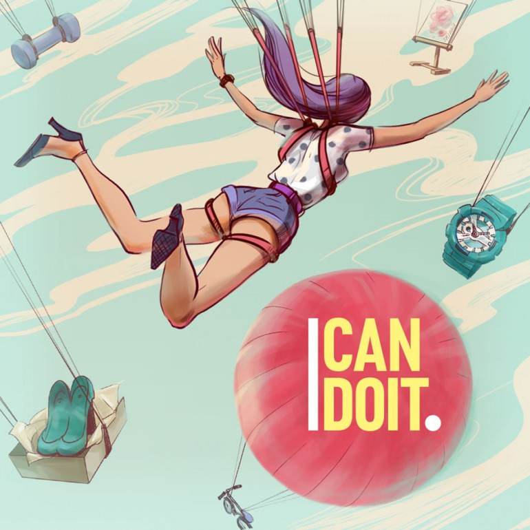I Can Do It, Guys.   Inspirational Illustrations.
