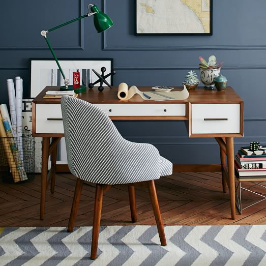 Mid-Century Desk – Acorn + White