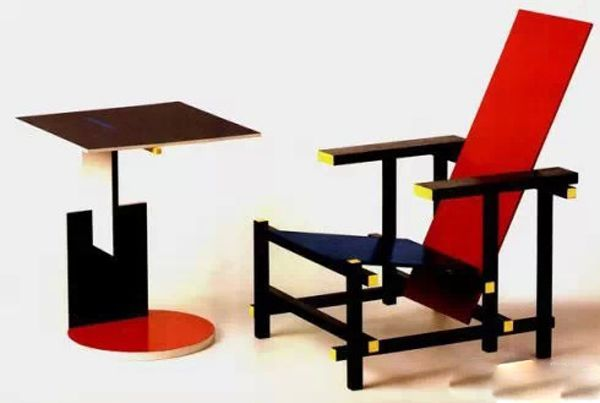 Red and Blue chair by Gerrit Rietveld