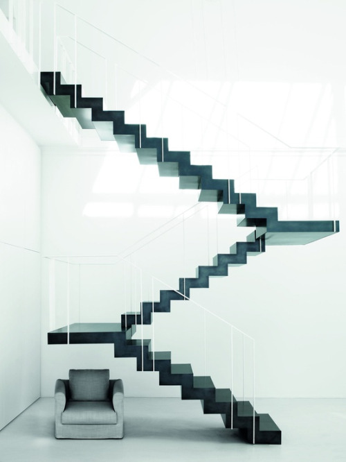 Snake Ranch black floating staircase