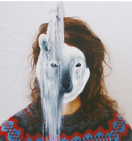 animal masks on photographic portraits