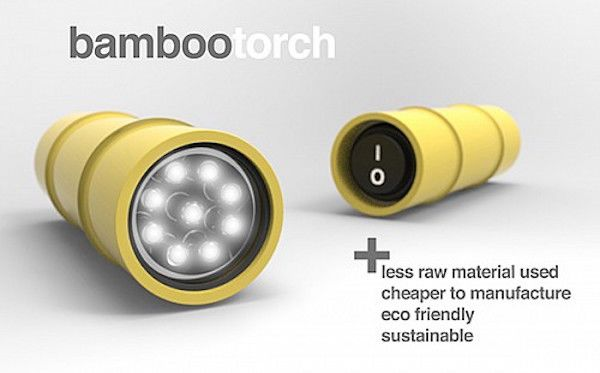The power of bamboo torch flashlight designed by Jordan Koroknai