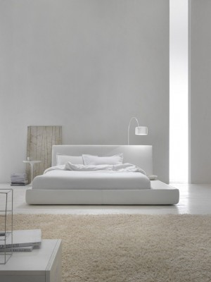 Contemporary minimalist interior white bedroom