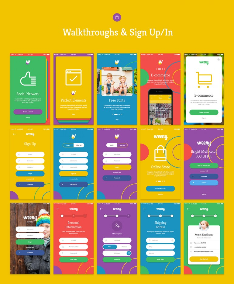 Weeny iOS UI Kit – 50+ HQ Screens