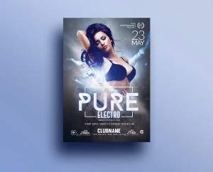 Pure Electro Flyer | Psd Template. Creative Design perfect to promote your Electro Party / Event ...