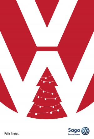 Special christmas ad for Saga volkswagen, a christmas tree inside the Volkswagen logo.