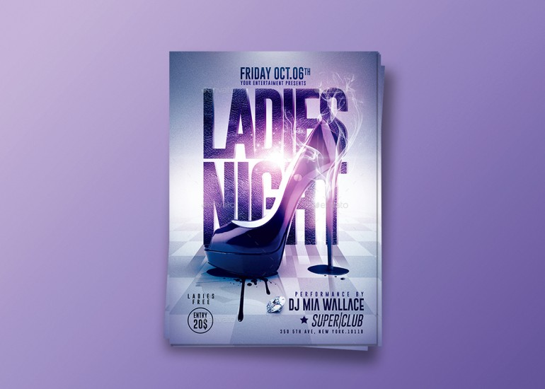 Ladies Night Party | Psd Flyer Template.Creative Design perfect to promote your Party / Event ! ...
