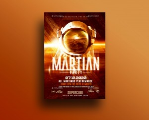 Martian Space Night | Psd Flyer Template. Creative Design perfect to promote your Futuristic Par ...