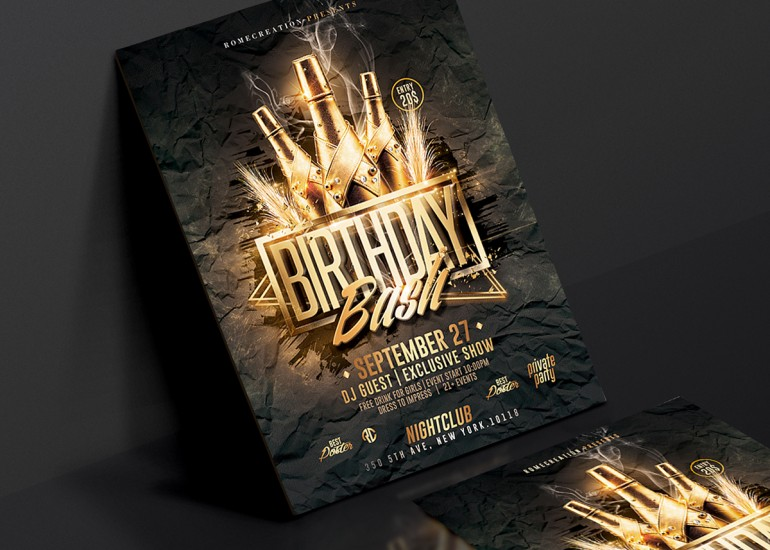 Gold Birthday Bash | Psd Flyer Template. Creative Design perfect to promote your Birthday Celebr ...