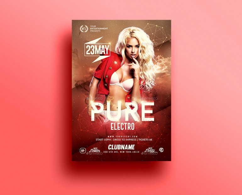 Pure Electro Flyer | Psd Template v2. Creative Design perfect to promote your Electro Party / Ev ...
