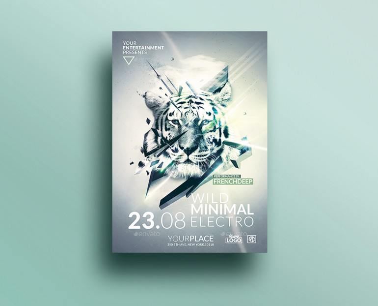 Minimal Deep Electro | Psd Flyer Template. Creative Design perfect to promote your Party. Psd Av ...