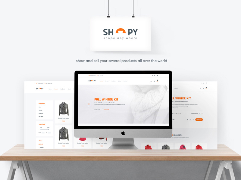 Shopy is a free eCommerce template with a simple and clean design.