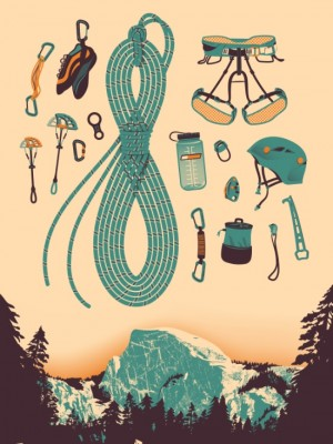 Half Dome Climbing Poster Art Print by Lin Zagorski