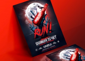 Halloween Zombie Party | Psd Flyer Template. Creative Design perfect to promote your Halloween P ...