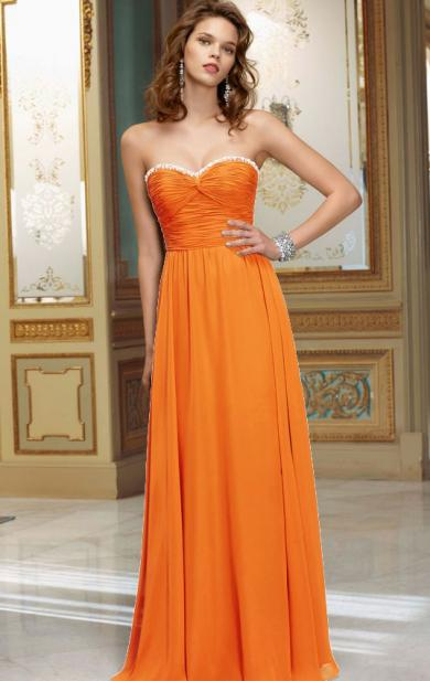 Colour: Orange  Fabric: Chiffon  Length: Floor Length  Fully Lined: Yes  Built in Bra: Yes  Tail ...