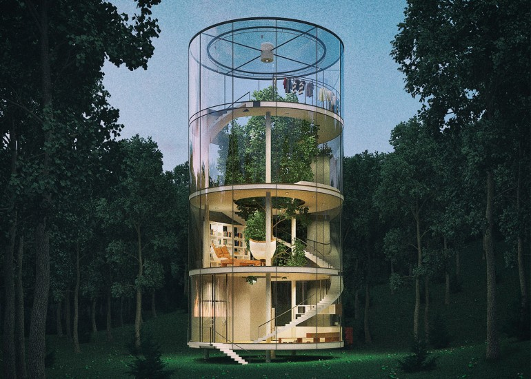 Tubular glass house by Aibek Almassov wraps around a full-grown tree