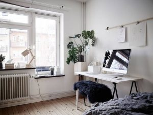 Bedroom, living room and work space in one