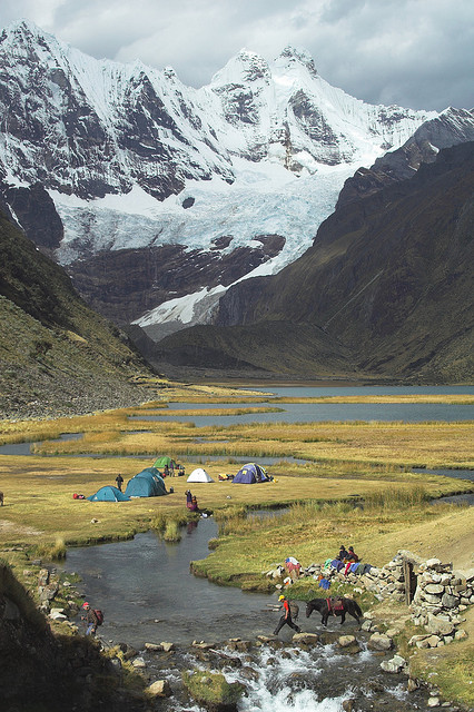Jahuacocha campsite in Cordillera Huayhuash, Peru