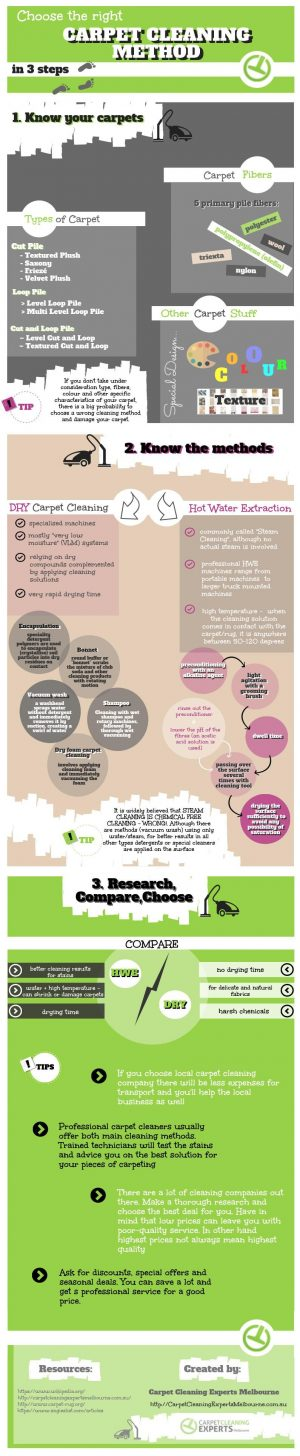 Infographic explaining in 3 steps how to find the best carpet cleaning method.