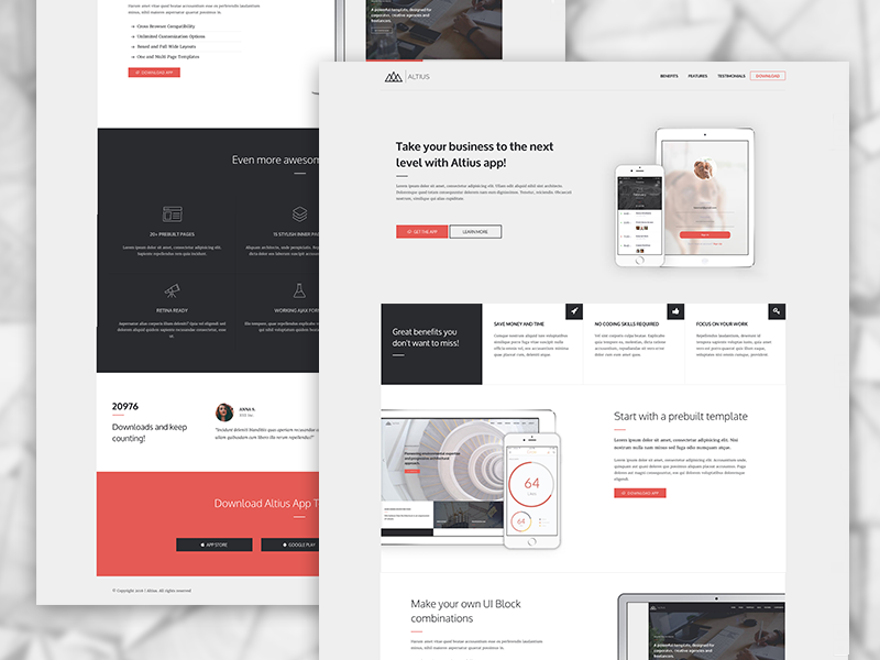 "A landing page template concept to showcase your app. This layout is part of the ""Altius & ..."
