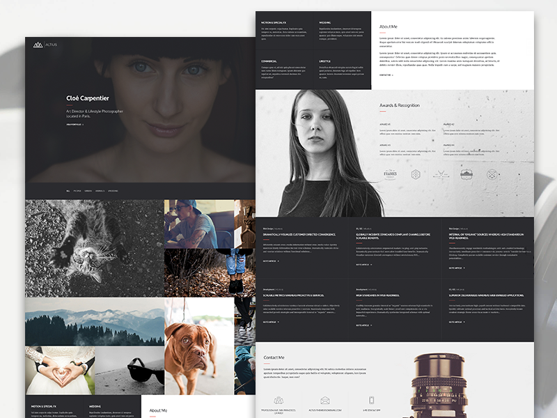 One Page Photographer Template This shot is a demonstration of a niche specific One Page templat ...