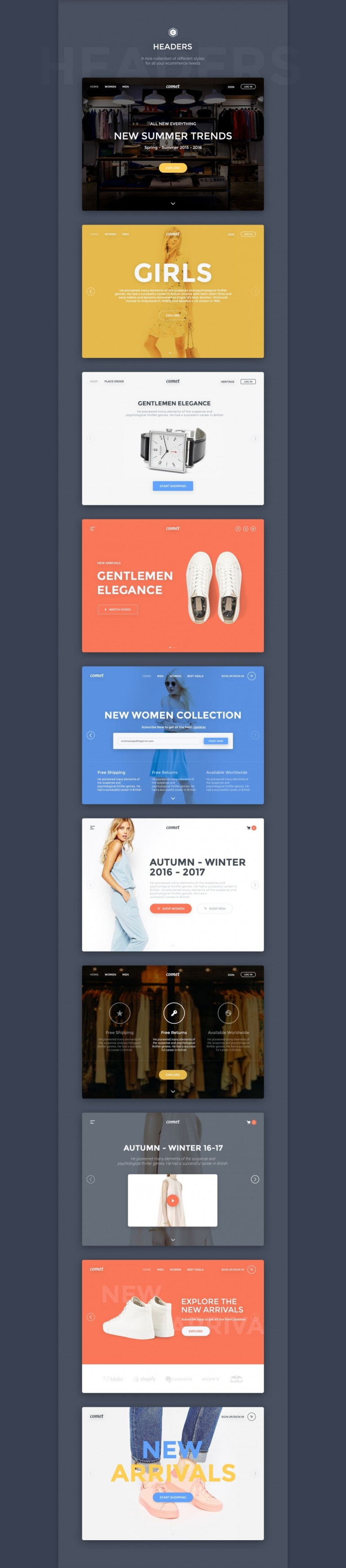 Comet – Elegant Web ecommerce UI Kit