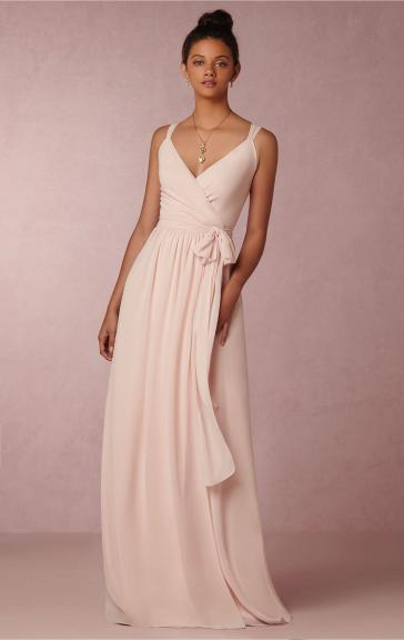 Designer Light Pink Long Bridesmaid Dress