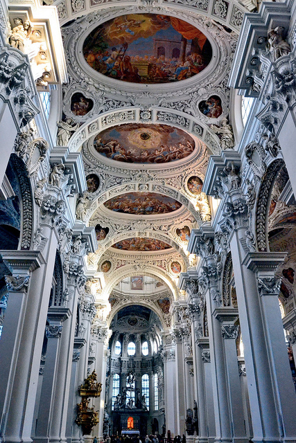 Italian baroque architecture inside Dom St. Stephan in Passau, Germany