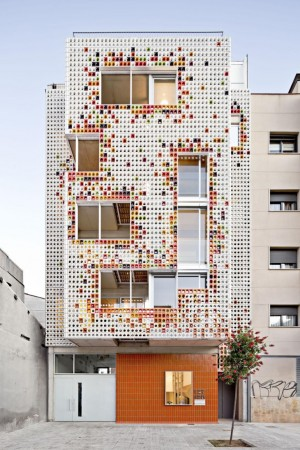 Multifamily Housing Designed with a Shiny Colorful Ceramic Facade