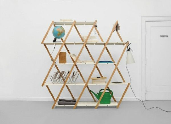 Spring shaped bookshelf design