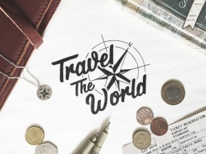 """Travel the world"" hand drawn typography by Jenna Bresnahan"