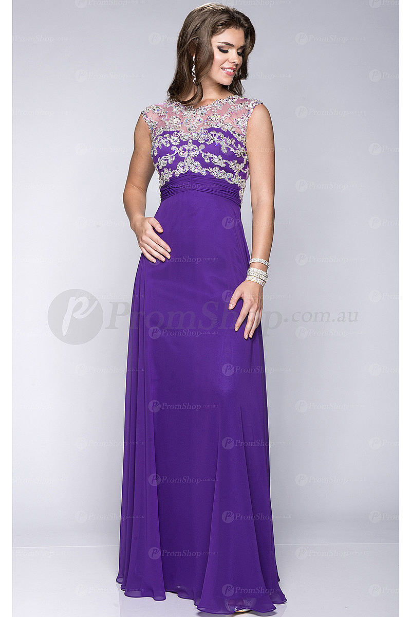 Glorious Purple Sleeveless Chiffon Empire Yarn Prom Dresses