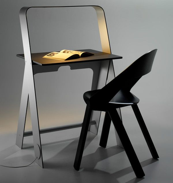Light and portable desk with LED light