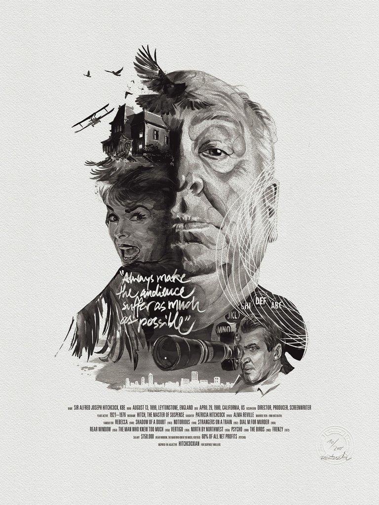 Movie Director Portrait, Alfred Hitchcock