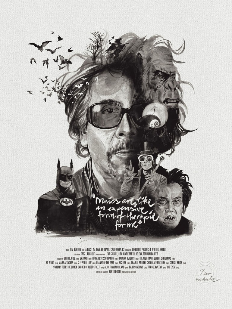 Movie Director Portrait Print, Tim Burton