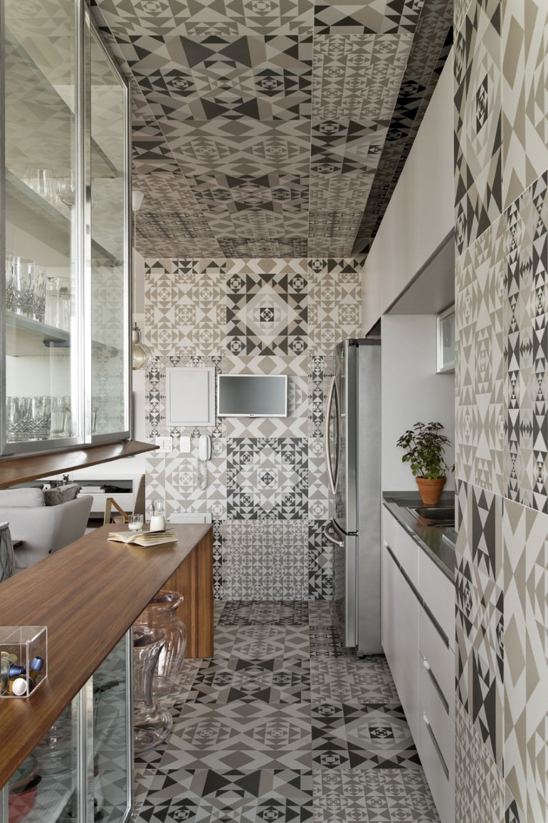This Apartment Has a Kitchen Area Fully Clad with Porcelain Tiles