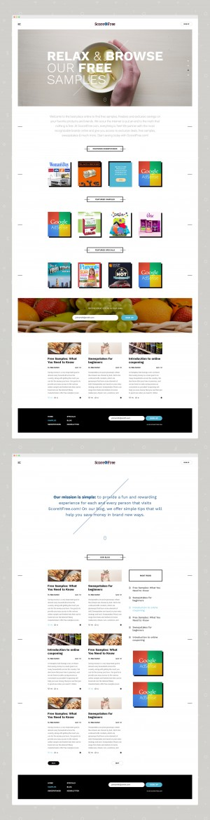 Web Design for a free samples website