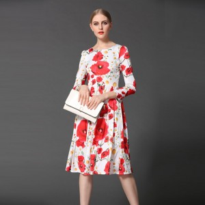 Casual-Dress-2016-New-Sring-Summer-Fashion-Women-Runway-Full-Sleeve-Knee-Length-Print-Flowers-Letter